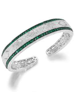 Emerald (1-1/3 ct. t.w.) and Diamond (1/10 ct. t.w.) Antique Cuff Bracelet in Sterling Silver (Also available in Sapphire and Ruby)