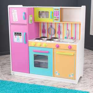 KidKraft Deluxe Big and Bright Wooden Play Kitchen with Play Phone, Neon Colors