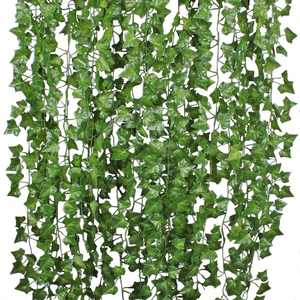 Coolmade 84ft 12 Strands Artificial Flowers Silk Fake Ivy Leaves Hanging Vine Ivy Plants Leaf Garland for Wedding Party Garden Home Wall Decor Green