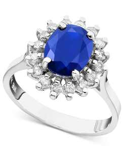 Royalty Inspired by EFFY Sapphire (1-9/10 ct. t.w.) and Diamond (3/8 ct. t.w.) Oval Ring in 14k White or Yellow Gold