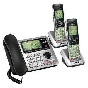 VTech CS6649-2 DECT 6.0 Expandable Corded/Cordless Phone with Answering Machine, 2 Handsets -Silver