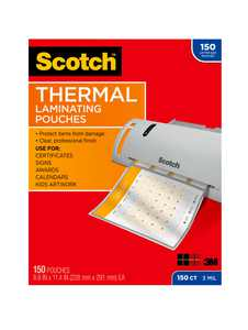 Scotch Thermal Laminating Pouches 150 Count, 8.5in 11in, 3 mil Thick