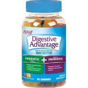 Digestive Advantage Prebiotic Fiber + Probiotic Gummies for Men & Women - Fruit Flavors - 65ct