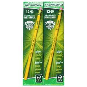 Ticonderoga No. 2 Pencils, Soft Black Lead, Yellow Wood Barrel, Unsharpened, 96 Count