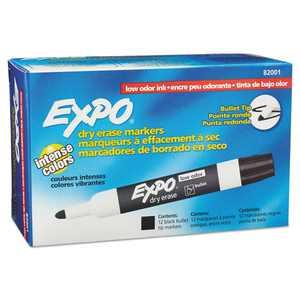 Expo Low Odor Dry Erase Marker, Bullet Tip, Black, 12 Count