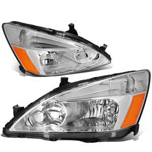 DNA Motoring HL-OH-HA03-CH-AB For 2003 to 2007 Honda Accord Replacement Headlight Chrome Housing Amber Corner Headlamp 04 05 06 Left + Right