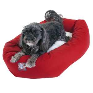 """Majestic Pet Poly/Cotton & Sherpa Bagel Dog Bed Machine Washable Red Small 24"""" x 19"""" x 7"""""""