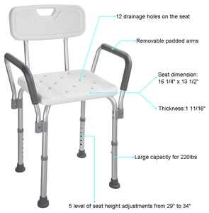 Yescom Medical Shower Seat Adjustable Height Bathtub Bench Transfer Chair Stool