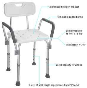 Yescom Medical Shower Seat Adjustable Height Bathtub Bench Transfer Chair Stool