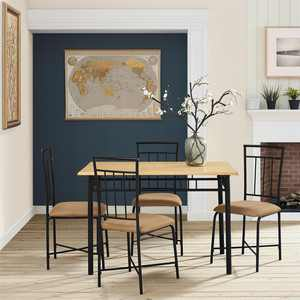 Mainstays Louise Traditional 5-Piece Wood & Metal Dining Set, Natural