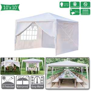 UBesGoo 10' x 10' Party Tent Outdoor Gazebo Wedding Canopy W/4 Side Walls