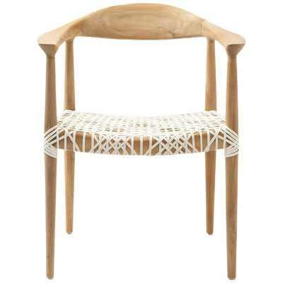 Fes Armchair White/Teak - Safavieh