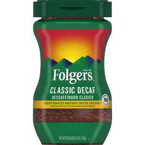 Folgers Decaf Coffee, Ground Coffee, Classic Medium Roast, 12 Ounce Canister