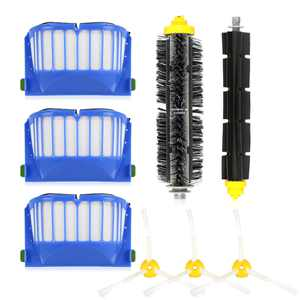 TSV 8Pcs Replacement Brush Filter Kit 3-Armed for iRobots Roomba Aerovac 528 529 600 620 630 650 Series Vacuum Accessories