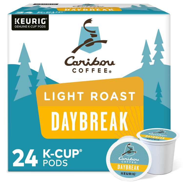 Caribou Coffee Daybreak Morning Blend K-Cup Pods, Light Roast, 24 Count for Keurig Brewers