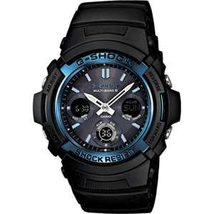 Casio Men's G-Shock Solar-Atomic Analog-Digital Watch, Black/Blue