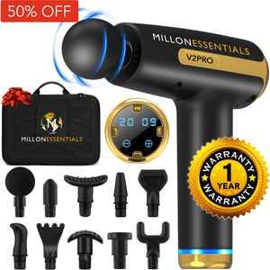MillonEssentials V2PRO Deep Tissue Massage Gun - #1 Muscle Percussion Massager - 20 Speeds - 10 Heads