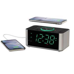 Emerson Alarm Clock Radio and Wireless Charger with Bluetooth, Compatible with iPhone XS Max/XR/XS/X/8/Plus, 10W Galaxy S10/Plus/S10E/S9, All Qi Compatible Phones, ER100202