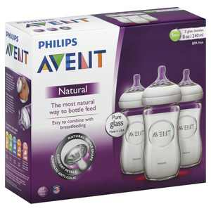 Philips Avent BPA Free Natural Clear Glass Baby Bottles, 8 Ounce, 3 Pack