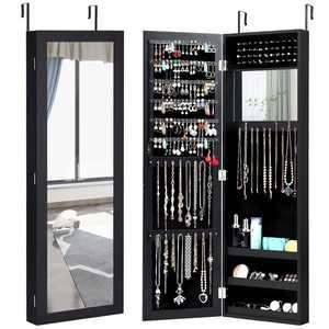 Costway Wall Door Mounted Mirrored Jewelry Cabinet Armoire Storage Organizer Black