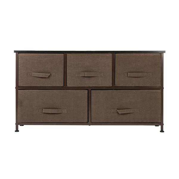 2-Tier Wide Closet Dresser, Nursery Dresser Tower With 5 Easy Pull Fabric Drawers And Metal Frame, Multi-Purpose Organizer Unit For Closets, Dorm Room, Living Room, Hallway, Brown