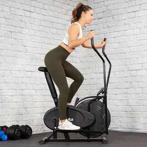 XtremepowerUS Elliptical Fan Bike Dual Action Cross Trainer Air Resistance System Machine Exercise Workout with LCD Monitor