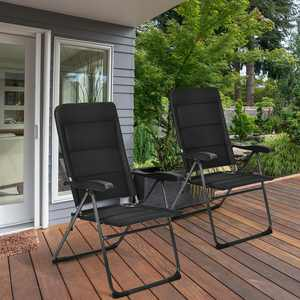 Gymax Reclining Steel Outdoor Lounge Chair - Set of 2 - Black