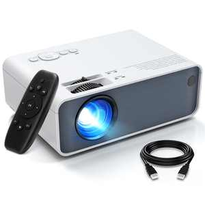 """VIK 7B Mini Projector, Full HD 1080P and 150"""" Display Supported, Video Portable Home Outdoor Movie Night Projector With 40,000 Hrs Lamp Life, Compatible With TV Stick, PS4, HDMI, VGA, TF, AV and USB"""
