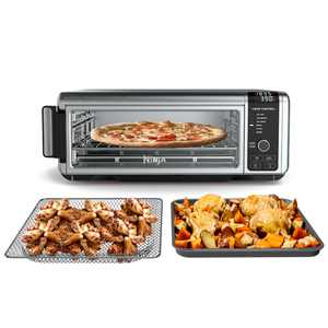 The Ninja Foodi Digital Air Fry Oven in Black and Silver, Convection Oven, Toaster, Air Fryer, Flip-Away for Storage, 1800 watts, Stainless Steel, SP100