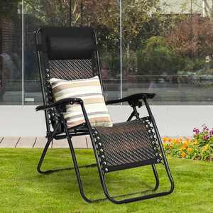 Gymax Rattan Zero-Gravity Chair - Black