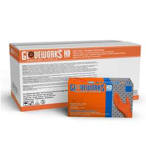 Gloveworks Heavy Duty Nitrile Latex Free Industrial Disposable Gloves, Large, Orange, 1000/Case
