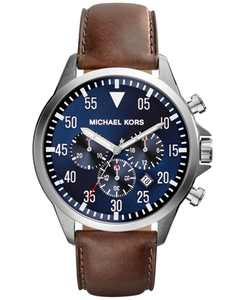 Men's Chronograph Gage Brown Leather Strap Watch 45mm MK8362