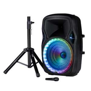 QFX 15 inch, LED Lighted Portable Bluetooth Party Loudspeaker, Microphone, Stand