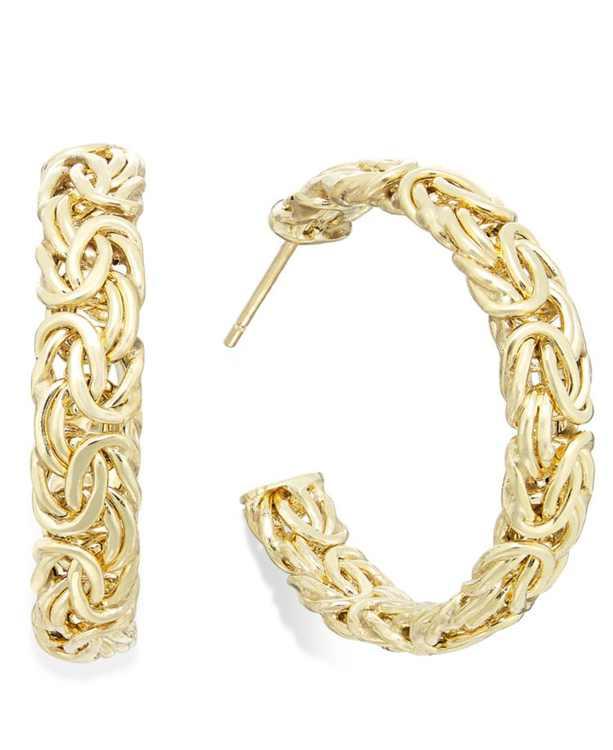 Byzantine Hoop Earrings in 14k Gold