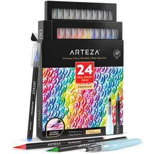 Arteza Blendable Ink Real Brush Tip Artist Brush Pens Set, Assorted Colors, Non-Toxic - 24 Pack (ARTZ-8089)