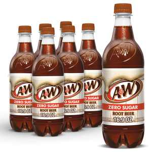A&W Zero Sugar Root Beer Soda, .5 L bottles, 6 pack
