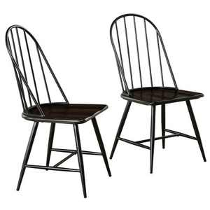 Set of 2 Milo Mixed Media Wood Top Chair Metal/Black - TMS