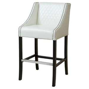 "28"" Milano Quilted Bonded Leather Barstool - Ivory Christopher Knight Home"