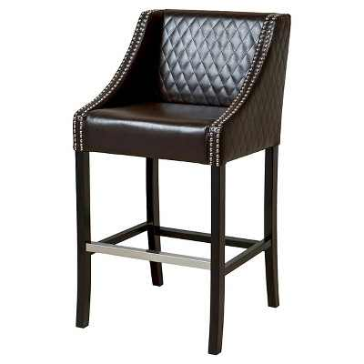 """28"""" Milano Quilted Bonded Leather Barstool - Brown Christopher Knight Home"""
