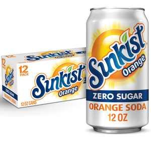 Sunkist Zero Sugar Orange Soda, 12 fl oz cans, 12 pack