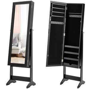 Costway Mirrored Jewelry Cabinet Armoire Mirror Organizer Storage Box Ring w/ Stand