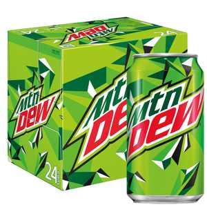 (24 Cans) Mountain Dew Soda Soft Drink, 12 fl oz