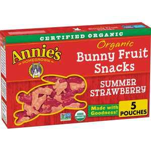 Annie's Organic Summer Strawberry Bunny Fruit Snacks, Gluten Free, 5 ct, 4 oz