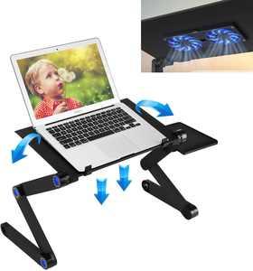 Laptop Table, 360Adjustable & Cooling Fan, Laptop Table for Bed Portable Laptop Workstation Notebook Stand Reading Holder, Ergonomic Lap Desk TV Bed Tray Standing Desk
