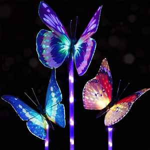 Coolmade 3 Pack Outdoor Solar Garden Stake Lights - Solar Stake Light Multi-color Changing LED Garden Lights, Fiber Optic Butterfly Decorative Lights with a Purple LED Light Stake for Garden Decor