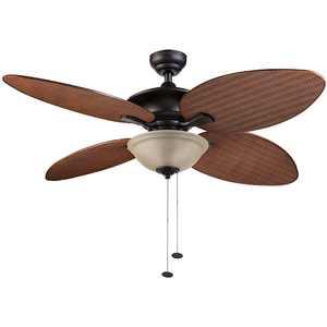 "52"" Honeywell Sunset Key Bronze 4-Blade Tropical Ceiling Fan W/ Reversible Airflow"