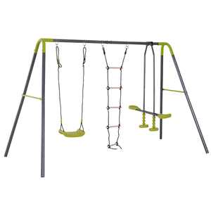 HOMCOM 3 in 1 Kids Swing Set, Double Face to Face Swing Chair & Glider Set, Climbing Ladder A-Frame Outdoor Heavy Duty Metal Swing Set for Backyard Playground