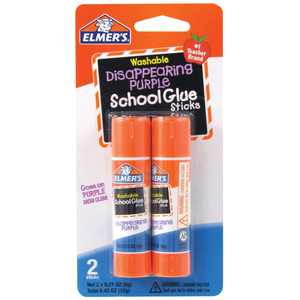 Elmer's Disappearing Purple Washable School Glue Sticks, 2 Count