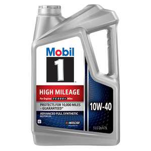 Mobil 1 High Mileage Full Synthetic Motor Oil 10W-40, 5 Quart
