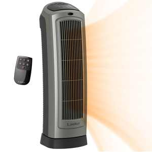 Lasko 1500W Oscillating Ceramic Tower Space Heater with Remote, 5538, Gray
